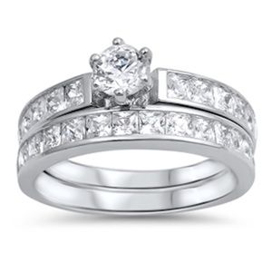 Jewelry - Round Brilliant cut .925 Silver Wedding Ring Set